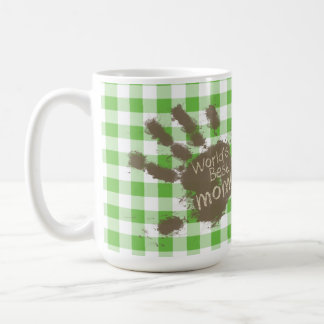 Funny Muddy hand print Green Checkered; Gingham Mugs