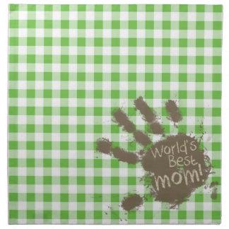 Funny Muddy hand print Green Checkered; Gingham Napkin