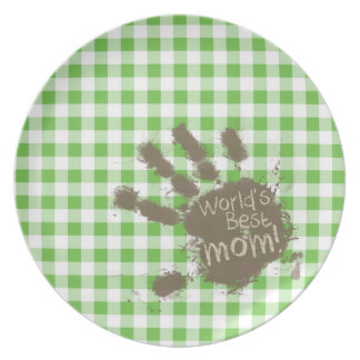 Funny Muddy hand print Green Checkered Gingham Dinner Plate
