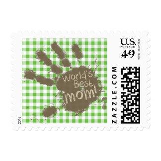 Funny Muddy hand print Green Checkered; Gingham Stamp