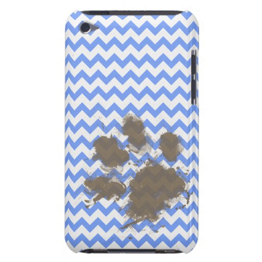 Funny Muddy Paw Print on Blue Chevron iPod Touch Covers