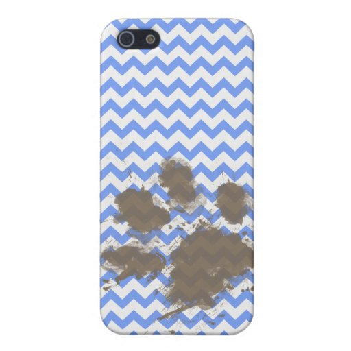 Funny Muddy Paw Print on Blue Chevron iPhone 5 Cases