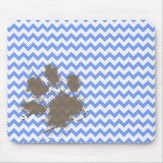 Funny Muddy Paw Print on Blue Chevron Mouse Pad