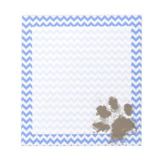Funny Muddy Paw Print on Blue Chevron Note Pad