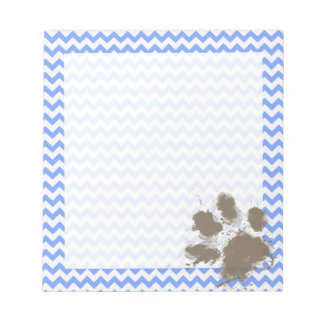 Funny Muddy Paw Print on Blue Chevron Notepad