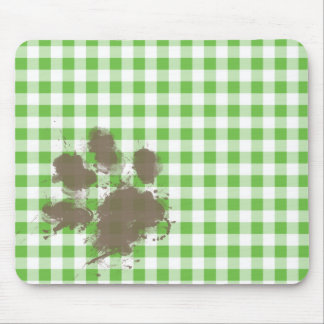 Funny Muddy pawprint Green Checkered; Gingham Mousepads