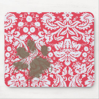 Funny Muddy Pawprint on Red Damask Pattern Mouse Pads