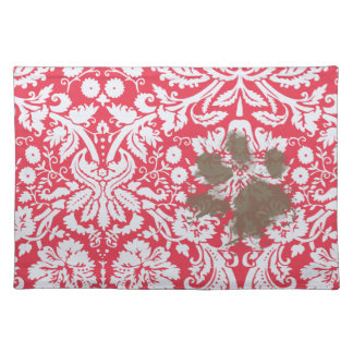 Funny Muddy Pawprint on Red Damask Pattern Placemats