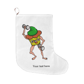 Funny Muffin Pumping Iron Large Christmas Stocking