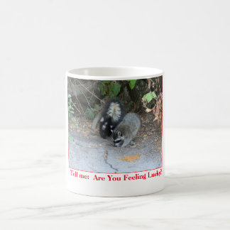 Funny mug with photo of raccoon and skunk