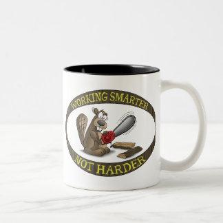 Funny Mug: Working Smarter Not Harder Two-Tone Coffee Mug