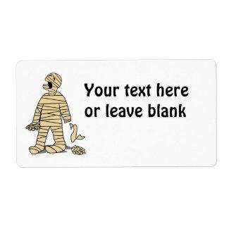 Funny Mummy Broken Hand Halloween label