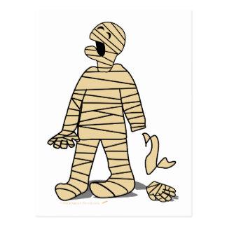 Funny Mummy Broken Hand Halloween Postcard