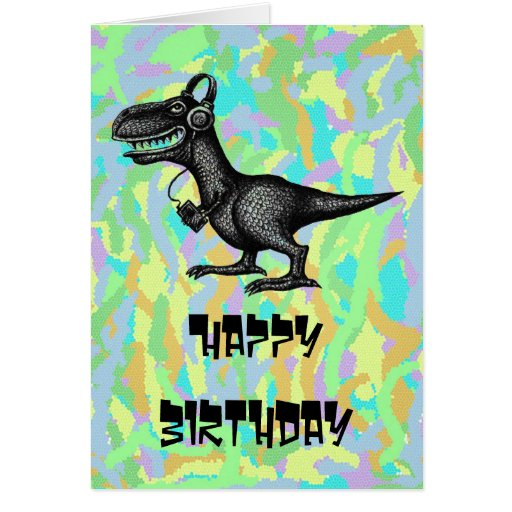 Funny Music Dinosaur Happy Birthday Card Design