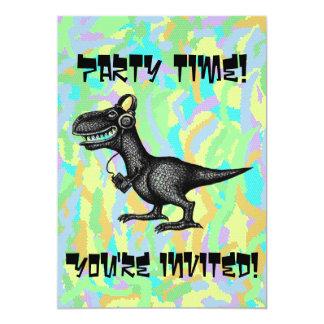 Funny music dinosaur party invitation card