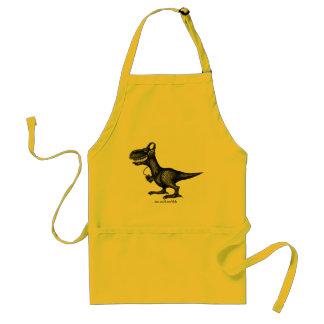 Funny music dinosaur pen ink drawing apron design