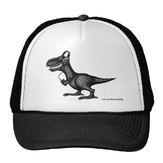 Funny music dinosaur pen ink drawing art hat