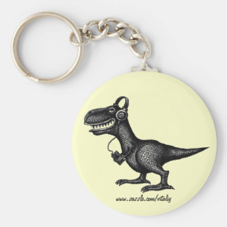Funny music dinosaur pen ink drawing art keychain