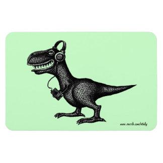 Funny music dinosaur pen ink drawing art magnet