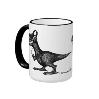 Funny music dinosaur pen ink drawing art mug