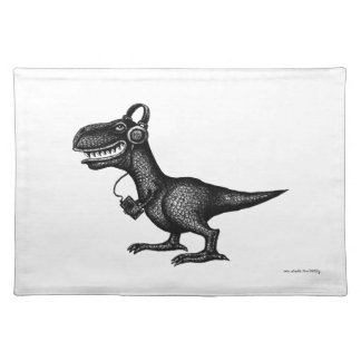 Funny music dinosaur pen ink drawing art poster placemat