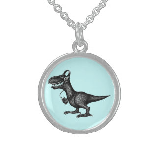 Funny music dinosaur pen ink drawing art sterling silver necklace