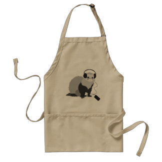 Funny Music Lover Ferret Adult Apron