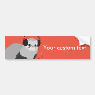 Funny Music Lover Ferret Bumper Sticker