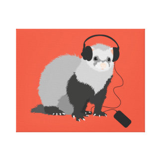 Funny Music Lover Ferret Canvas Print