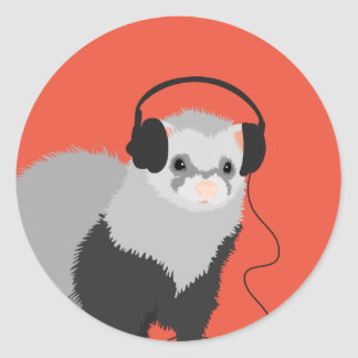 Funny Music Lover Ferret Classic Round Sticker