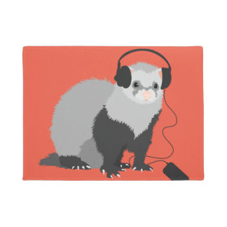 Funny Music Lover Ferret Doormat
