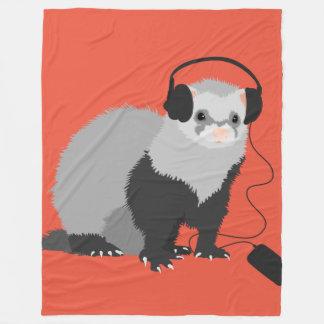Funny Music Lover Ferret Fleece Blanket