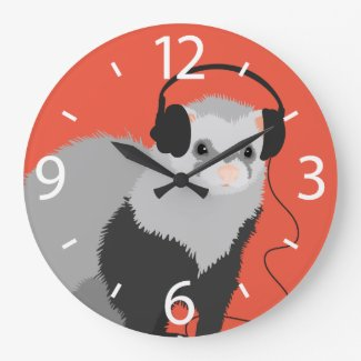 Funny Music Lover Ferret Large Clock