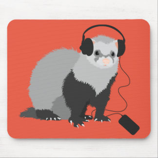 Funny Music Lover Ferret Mouse Pad