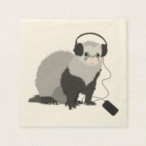 Funny Music Lover Ferret Napkin