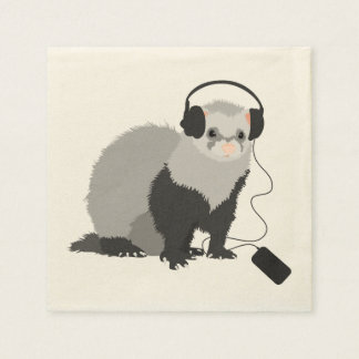Funny Music Lover Ferret Napkin