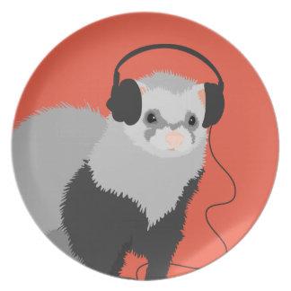 Funny Music Lover Ferret Plate