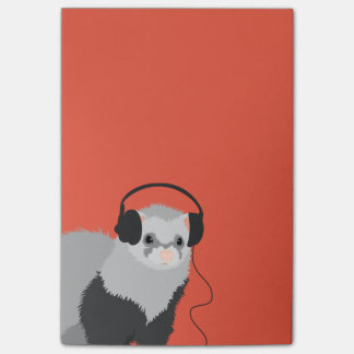 Funny Music Lover Ferret Post-it® Notes