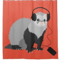 Funny Music Lover Ferret Shower Curtain