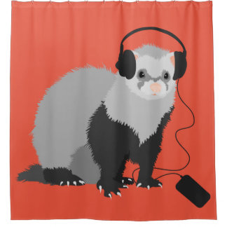Funny Music Lover Ferret Shower Curtain