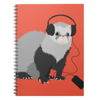 Funny Music Lover Ferret Spiral Notebook