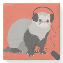 Funny Music Lover Ferret Stone Coaster
