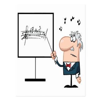 funny music professor teacher cartoon postcard