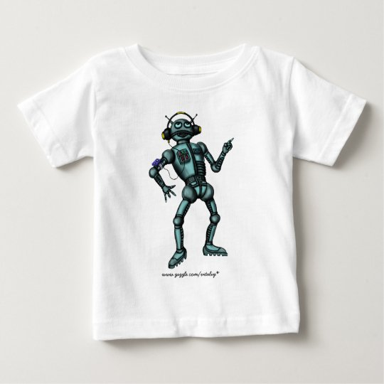 Funny music robot baby t-shirt design