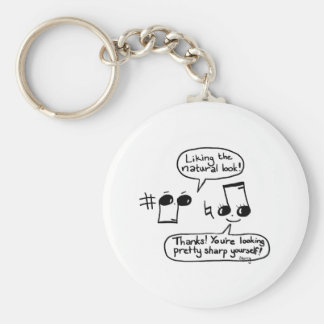 Funny Musical Compliments Cartoon: Version II Basic Round Button Keychain