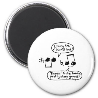 Funny Musical Compliments Cartoon: Version II 2 Inch Round Magnet