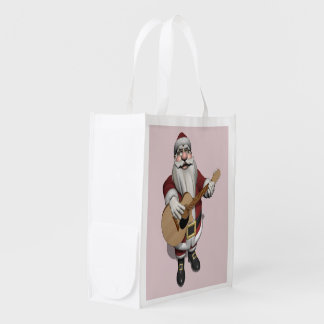 Funny Musical Santa Claus Playing Accoustic Guitar Grocery Bags