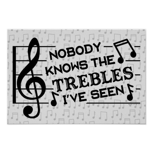 Funny Musicians Treble Joke Pun  Music Teachers Poster