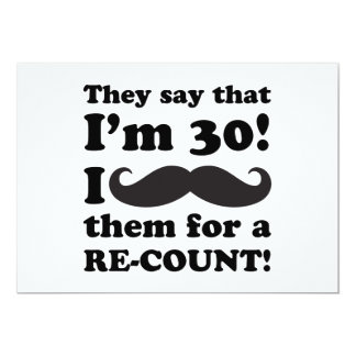 Funny Mustache 30th Birthday Card