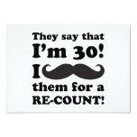 Funny Mustache 30th Birthday 5x7 Paper Invitation Card